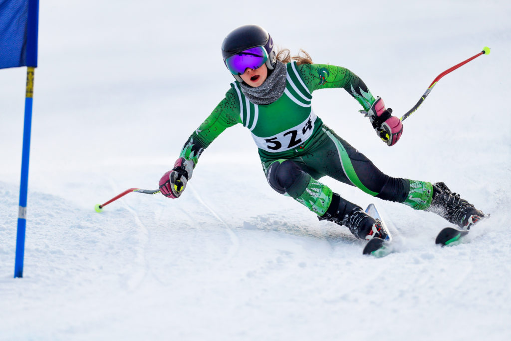 skiing racer rounding a turn