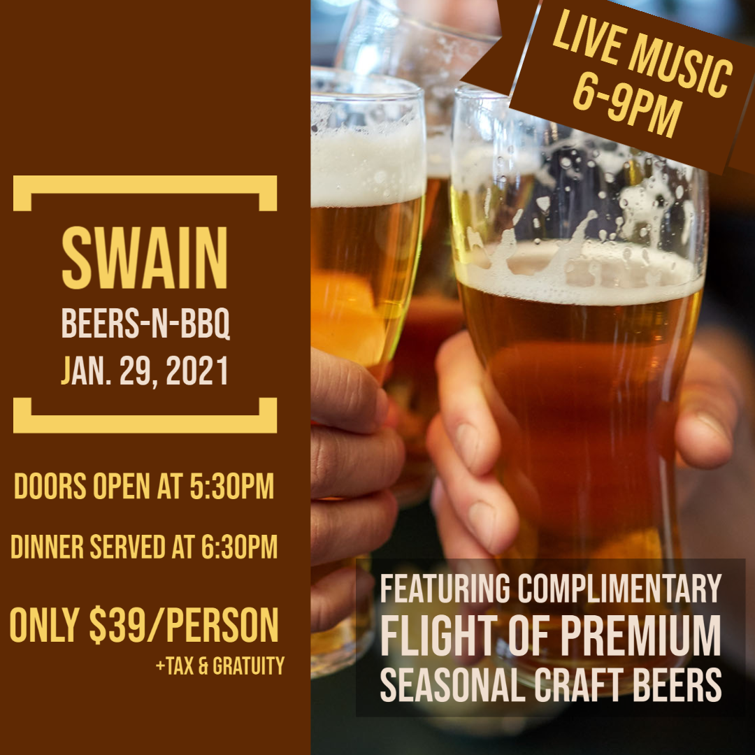 Swain Beers-n-BBQ January Beer Dinner